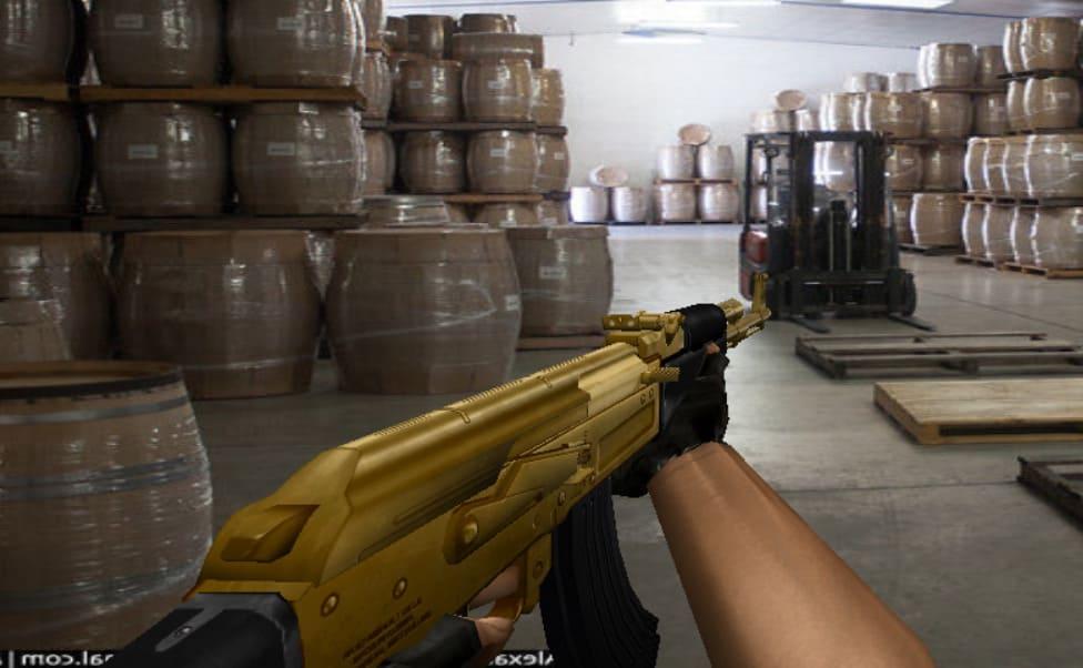Модель АК47 без анимации Голд (золотой)