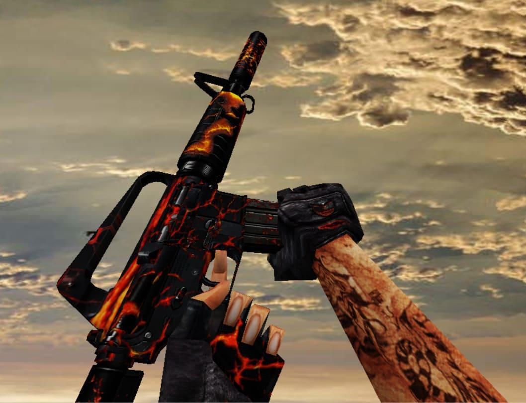 Модель M4A1 с анимацией Огня